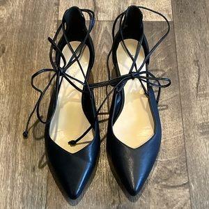Nine West Black Leather Eladiao Wedges